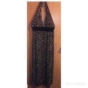 Dresses & Skirts - Animal print halter maxi dress